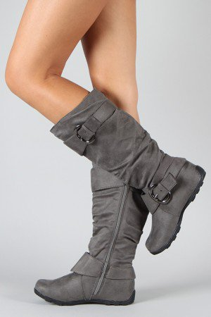 BD-1530 Buckle Round Toe Knee High Boot