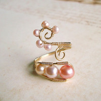 Pink Pearl Wire Ring, Gold Filled Wire Wrapped Ring With Pink Freshwater Pearls, Adjustable Wire Weave Ring