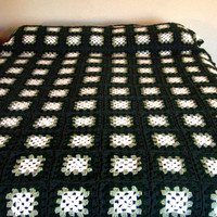 Shades of Green and White queen-sized afghan - READY TO SHIP