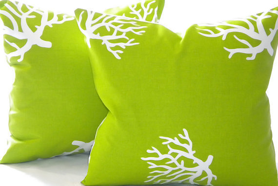 Designer Pillow cover Chartreuse/ White Coral indoor/outdoor beach  20 x 20