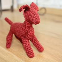 Crocheted amigurumi miniature - FREE SHIPPING- Jumps The Puppy - crochet animal - Waldorf