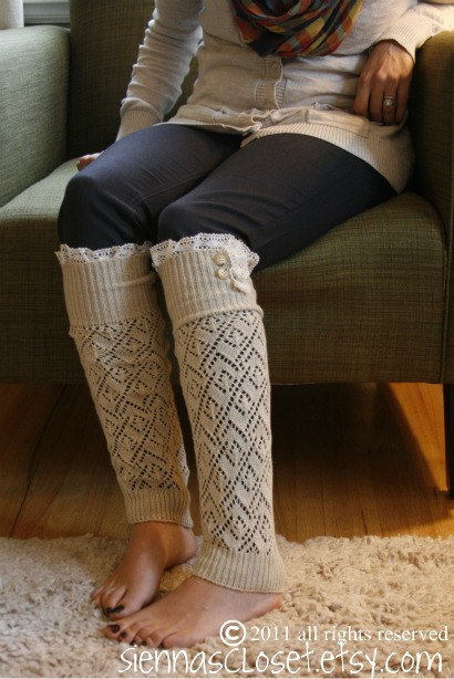 SALE SALE The Lacey Lou-Natural: Open-work Legwarmers w/ ivory knit lace trim &amp; buttons - Leg warmers (item no. 3-14)