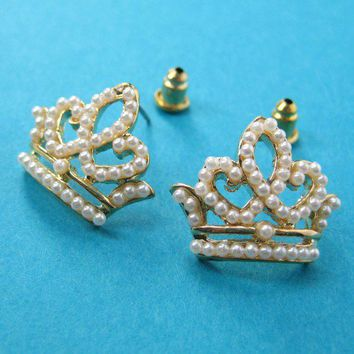 SALE - Princess Crown Stud Earrings with Pearl like Detail