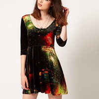 Evil Twin 'Outer Limits' Velvet Skater Dress at asos.com