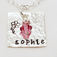 Flower girl necklace - hand stamped sterling silver necklace