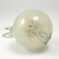 Resin Necklace - Fluffy Dandelion Pendant. Silver.