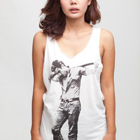 James Dean T Shirt Giant Film Actor Women White T-Shirt Vest Tank Top Singlet Sleeveless Size S M