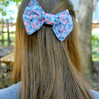 Blue, Pink, and White Floral Cotton Bow