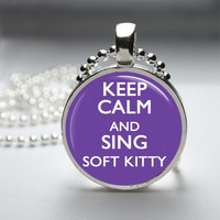 Glass Pendant Bezel Pendant Keep Calm And Sing Soft Kitty Pendant Big Bang Theory Necklace Photo Pendant Art Pendant Ball Chain (A3832)