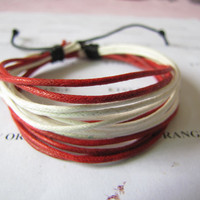Multicolor ropes Adjustable Surf Hemp Leather Bracelet Wristband Mens Womens 368S