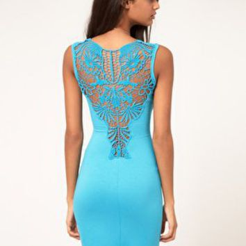 Paprika Crochet Back Jersey Bodycon Dress at asos.com