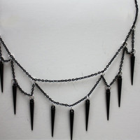 Spiked black chain necklace