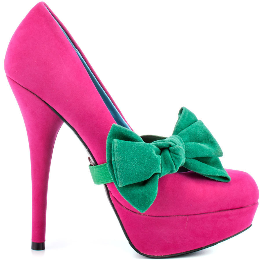 Promise Shoes - Bachata - Fuchsia Pink Heels with Green Bow