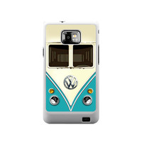 Cute kawaii blue mini bus volkswagen with chrome logo samsung galaxy S2 case ( white / Black Color Case )