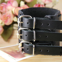Cool Bracelet Black Real Leather Bracelet Cuff 3 laps Buckle Mens Bracelst  Women Bracelet 891S