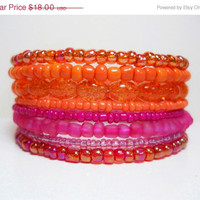 ON SALE Memory Wire Bracelet Neon Pink and Orange Color Block Stacked Beaded Wrap