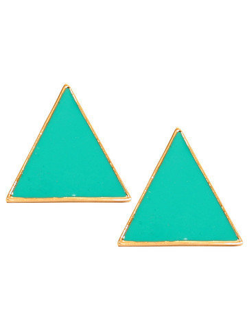 GYPSY WARRIOR - Teal Triangle Post Earrings