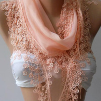 Salmon Pink - Cotton/ Traditional Turkish fabric -Anatolian Shawl/Scarf....