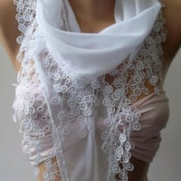 White -Cotton Shawl / Elegance Shawl - Scarf with Lace Edge/ Yemeni.,.
