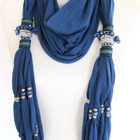 Blue Cotton Scarf Decorated With Crystals, Beads and Stones, Cotton, Organic, Extra Long, Stylish,Fringed, Beige