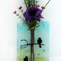 fused glas  Decorated Wall Vase  (birds on a Branch)