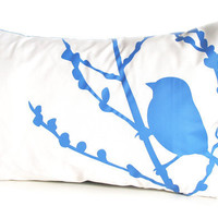 Royal Blue Print on Off-white Bird on Cherry Blossom Pillow