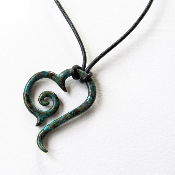 Blue Caribbean Sea Tribal Heart Pendant
