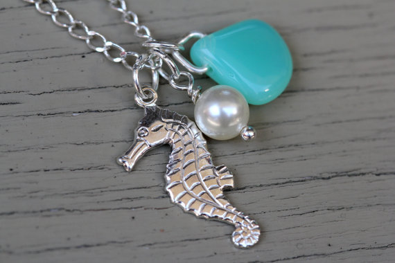 Seahorse Necklace : Sterling Silver Plated Sea Horse Charm Necklace with Accenting Pearl White Swarovski Pearl and Teal Mint Drop Bead