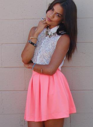 Bright Coral High-Waisted Skirt with Back Zipper Closure