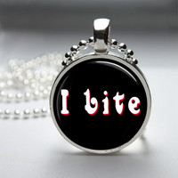 Round Glass Bezel Pendant I Bite Pendant Funny Necklace With Silver Ball Chain (A3838)