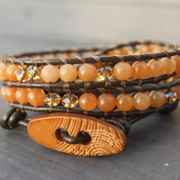 Orange Earthy Leather Wrap Bracelet