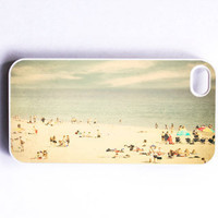 "Iphone Case. ""Vintage Beach"". Beach. Summer. Ocean. Sand. People. Santa Cruz. Blue. Gray. Gold. Clouds. Iphone 4 case. 4s case. iphone cover"