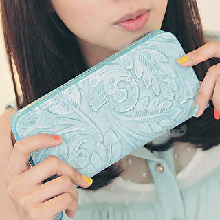 YESSTYLE: PG Beauty- Embossed Long Wallet (Blue - One Size) - Free International Shipping on orders over $150