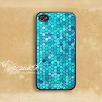 iPhone 4 case, iPhone 4s case, case for iPhone 4, turquoise tile pattern B297