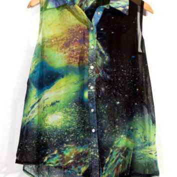 Galaxy Print Asymmetric Top by Chic+ - Tops - Retro, Indie and Unique Fashion