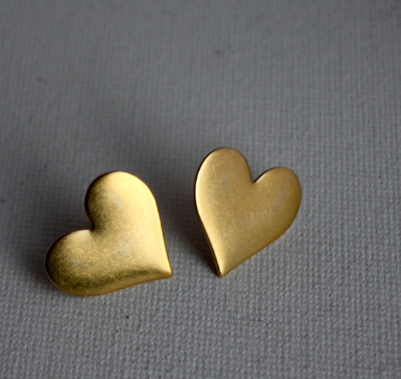 Handmade Large Brass Heart Studs