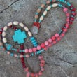 Turquoise Cross Beaded Necklace - Hippie - Southwestern - Boho
