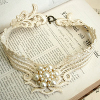 lace necklace -DEBORAH- vintage ecru