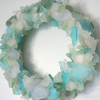 Beach Decor Sea Glass Wreath - Naut.. on Luulla