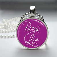 Round Glass Bezel Pendant Boys Lie Pendant Funny Necklace With Silver Ball Chain (A3852)