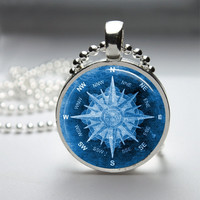 Round Glass Bezel Pendant Compass Pendant Compass Necklace Photo Pendant Art Pendant With Silver Ball Chain (A3845)