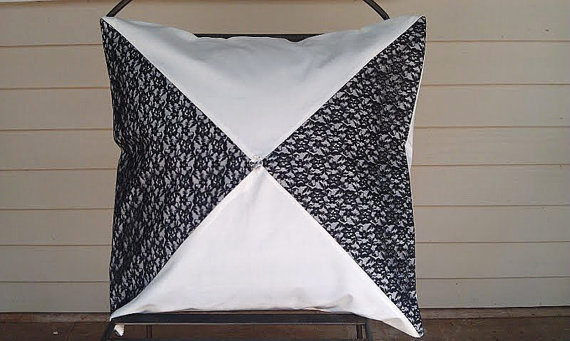 Decorative Handmade Black and White Lace Pillow Cover 20 x 20 ...