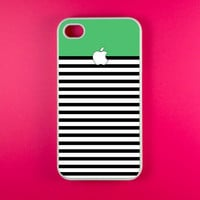 Iphone 4 Case - Green White Strip Iphone 4s Case, Iphone Case