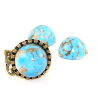 Vintage Turquoise Glass  Dome Adjustable Ring Bronze Filigree