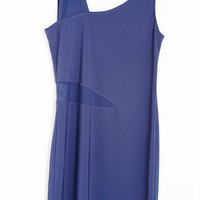 Stylish Waist Hollow Out Tunic Vest Dress Blue