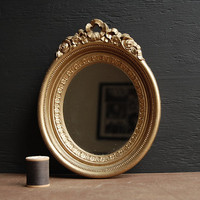 Gold Oval Wall Mirror by TheVintageParlor on Etsy