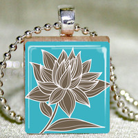 Magnolia On Teal Scrabble Pendant W.. on Luulla