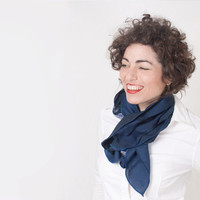 Dark Blue Scarf OOAK Women Eco Friendly