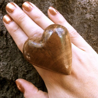 wooden extra big ring unique wood statement jewelry woodworking wooden heart