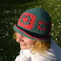Granny squares woman's crochet hat in hot pink and green